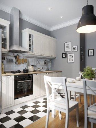 Кухня гостиная в скандинавском стиле — фото модного дизайна