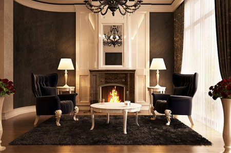 Камин в интерьере гостиной: идеи дизайна