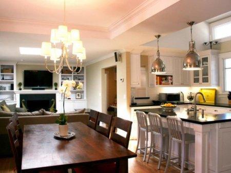 Интерьер кухни-гостиной: красивый интерьер кухни совмещенной с гостиной