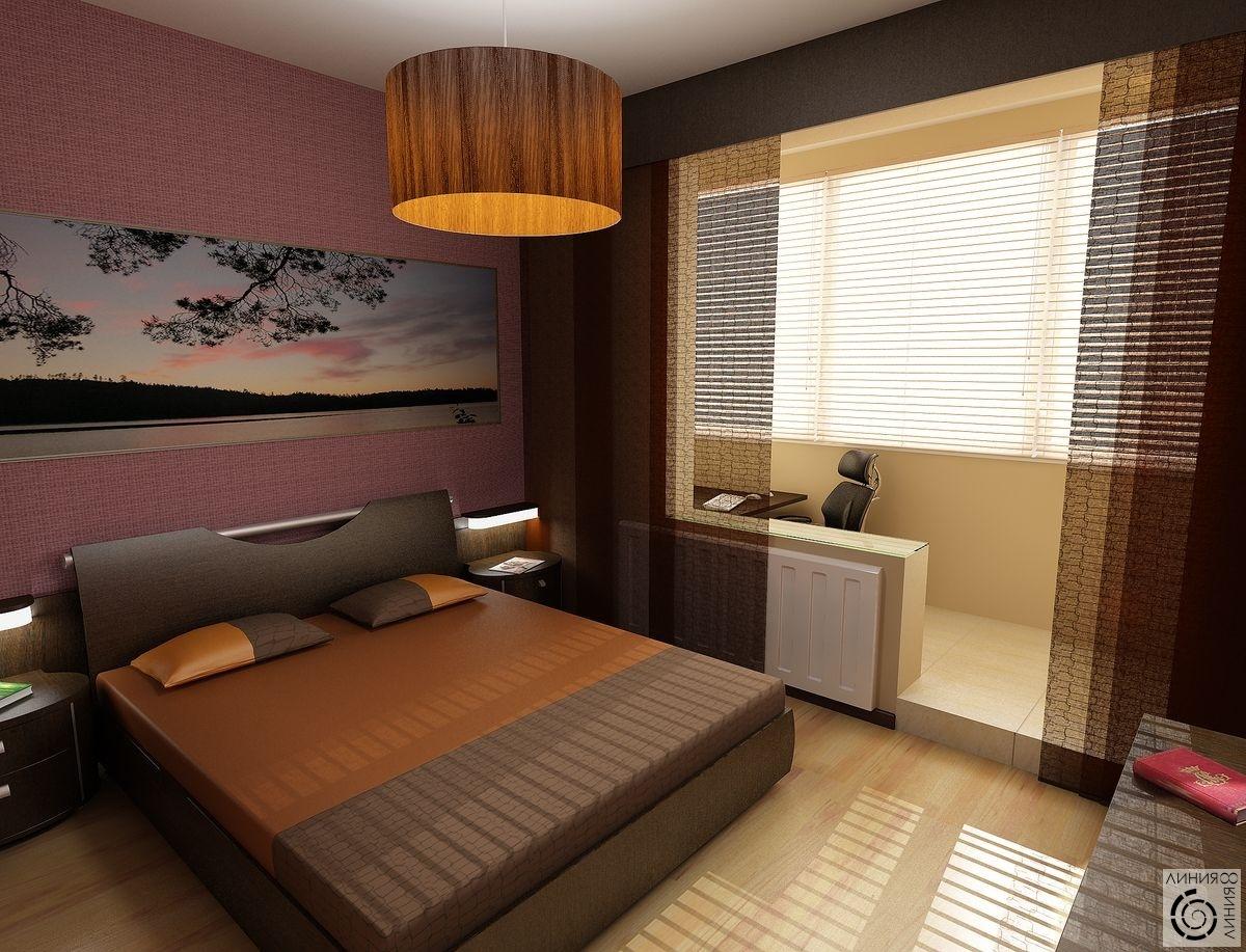 интерьер маленькой спальни с лоджией современный дизайн