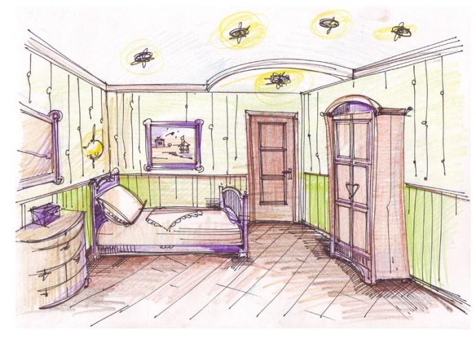 Интерьер комнаты рисунки карандашом » Современный дизайн ...  Простой Интерьер Рисунок