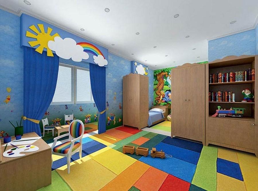 Стены и пол могут быть лимонными, зелеными или оранжевыми.