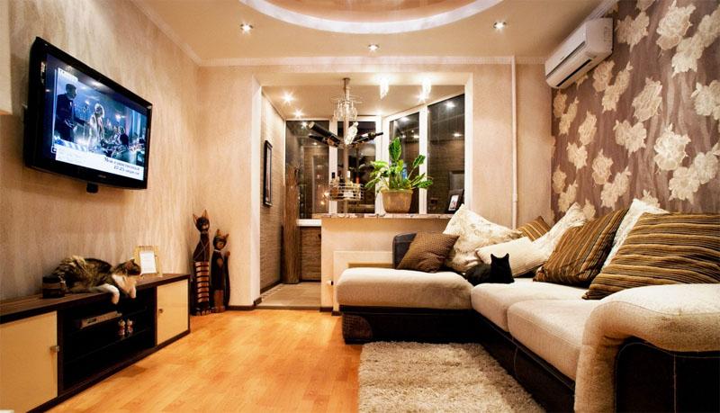 Дизайн совмещение комнаты с балконом