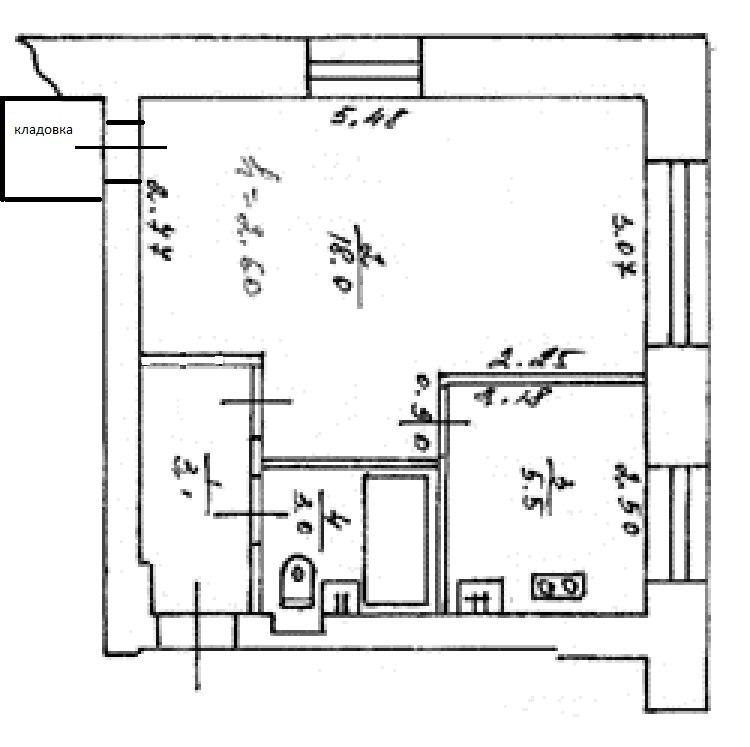 """Планировка 1 комнатных квартир в хрущевках """" современный диз."""
