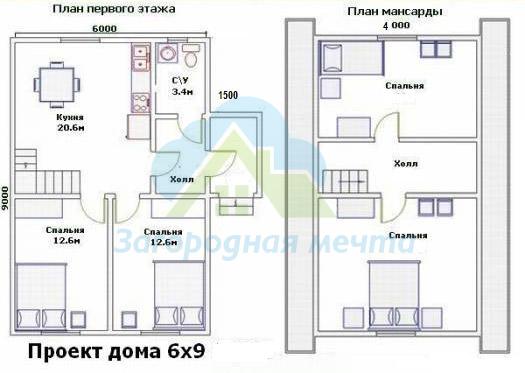 Планировка дома с мансардой 10 на 12 фото