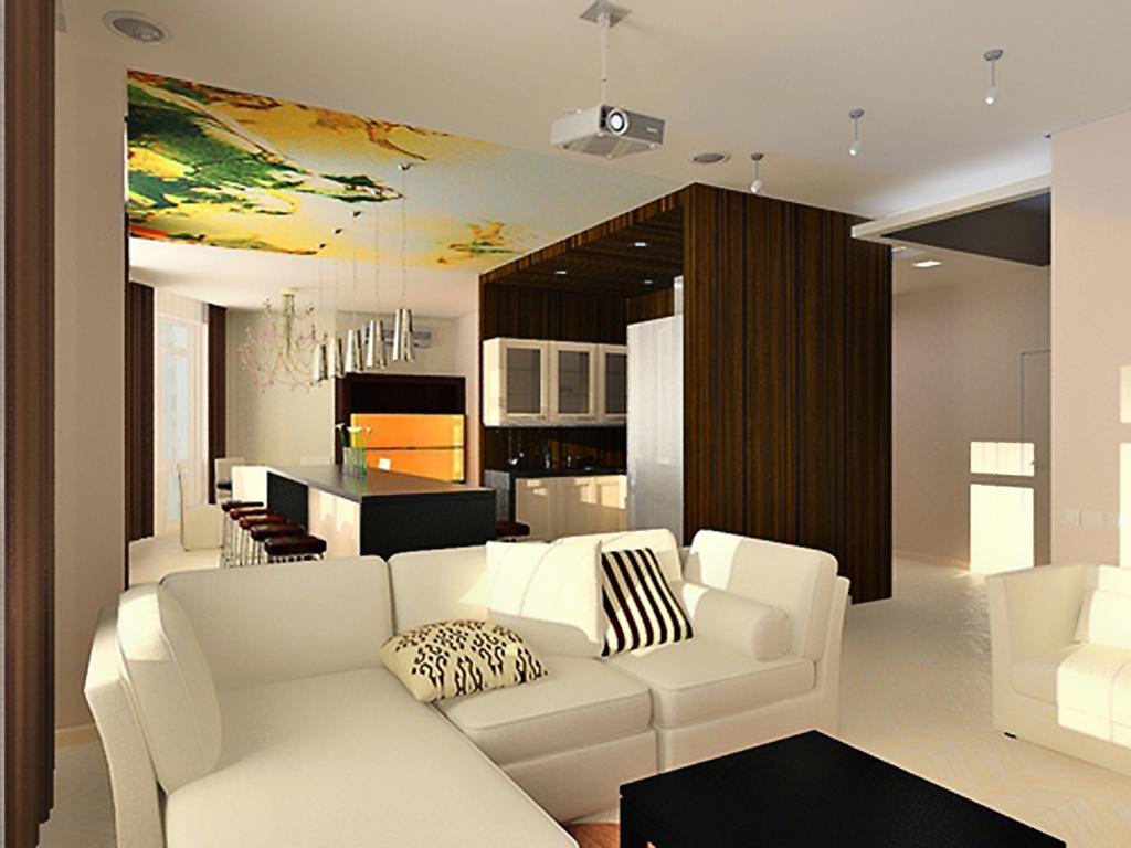 Кухня совмещенная с гостиной дизайн 21 кв.м