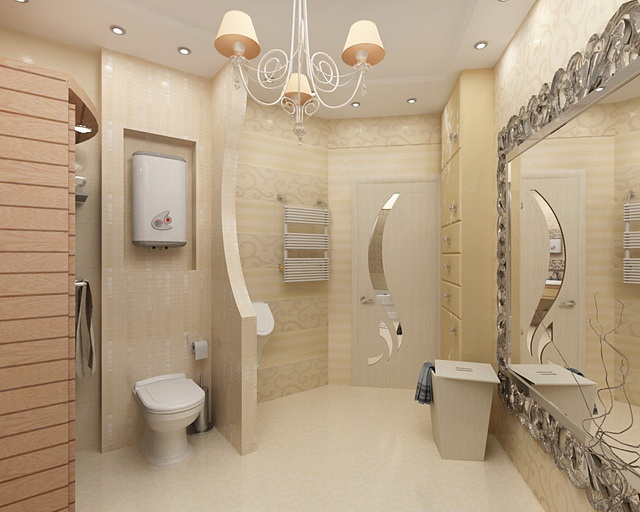 Санузел дизайн с ванной и туалетом
