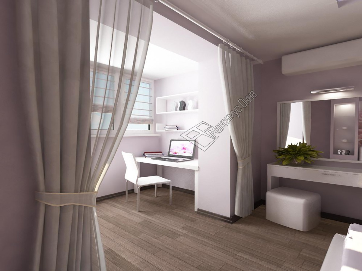 """Дизайн комнат совмещенных с балконом """" современный дизайн."""