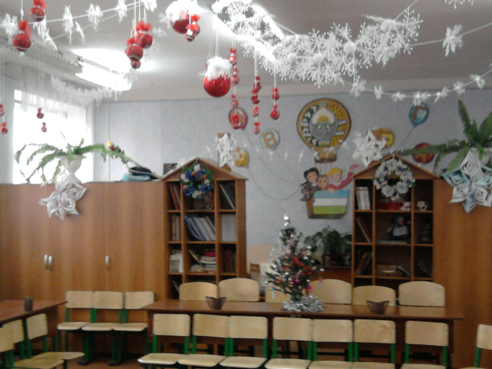 Украшение школьного класс к новому году