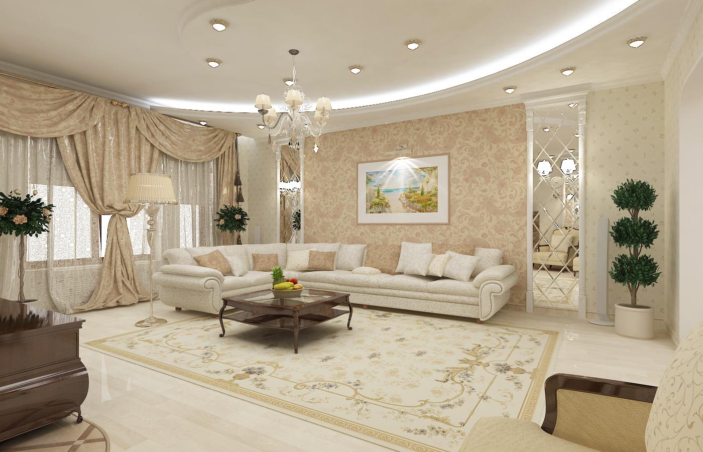 Дизайн стен в гостиной в частном доме