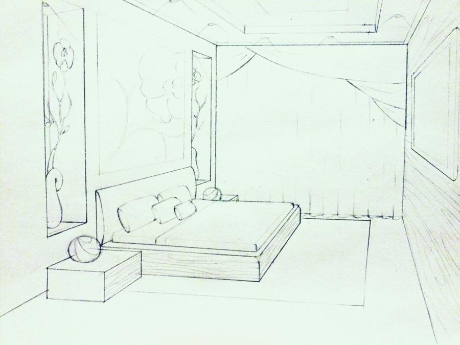 Рисуем дизайн комнаты в карандаше