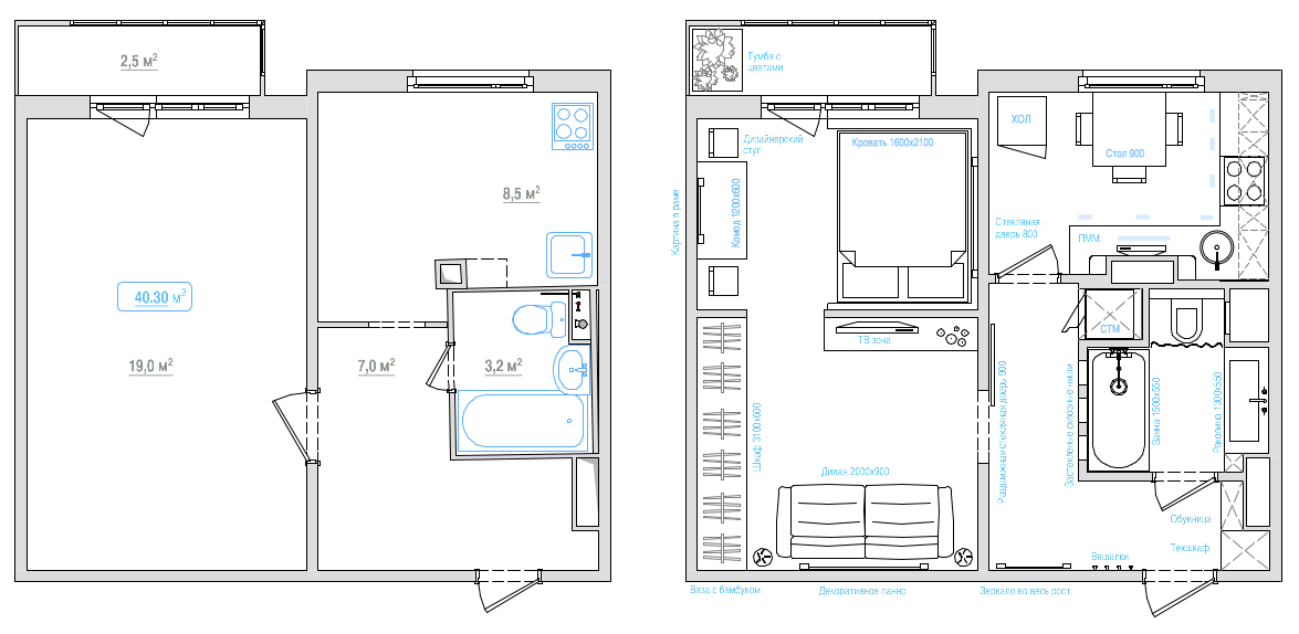 1 комнатная квартира п44т дизайн