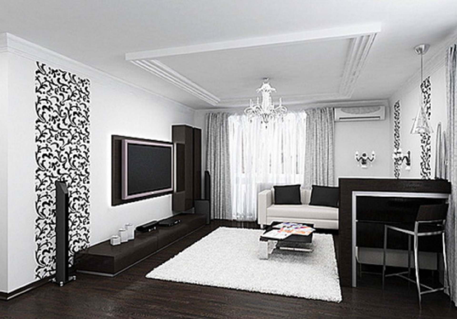 Дизайн черно-белых комнат на