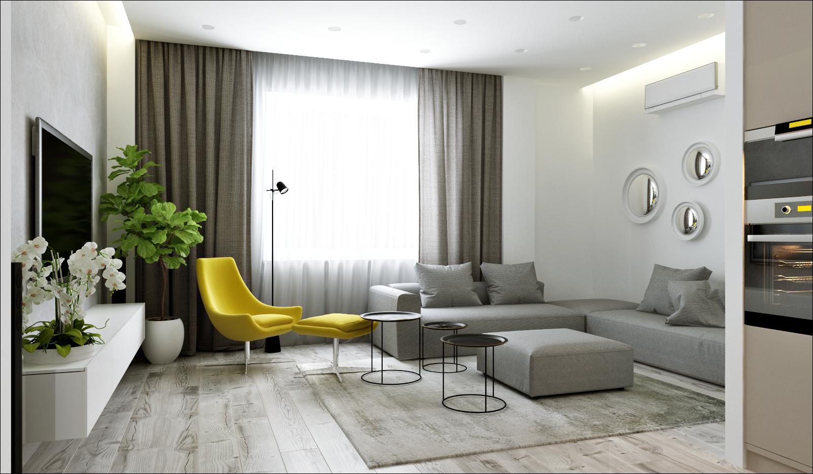 Готовый дизайн квартиры 60 кв.м