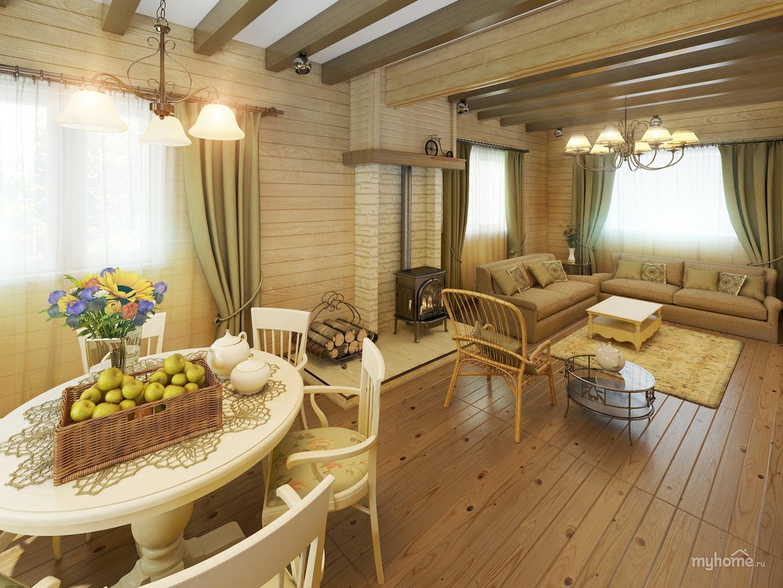 Дизайн кухни деревянного дома 163