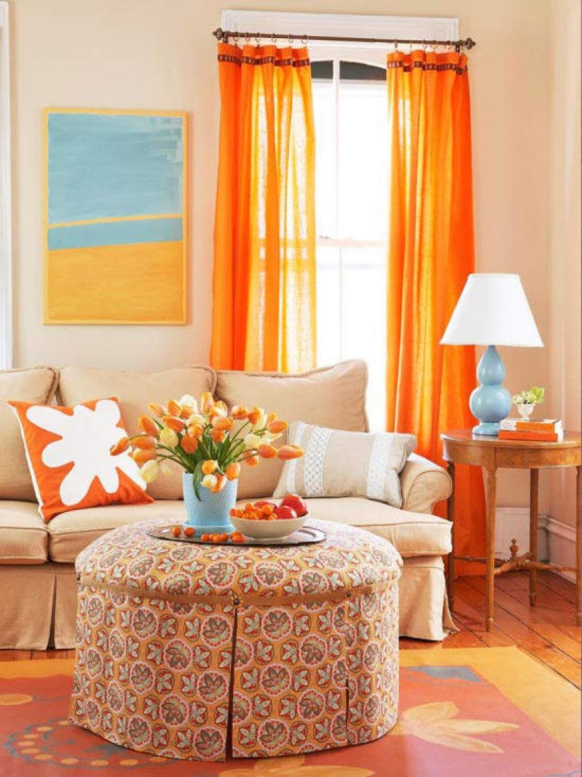 Апельсиновые цвета в интерьере