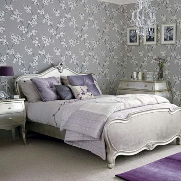 Дизайн спальни с серыми обоями 33
