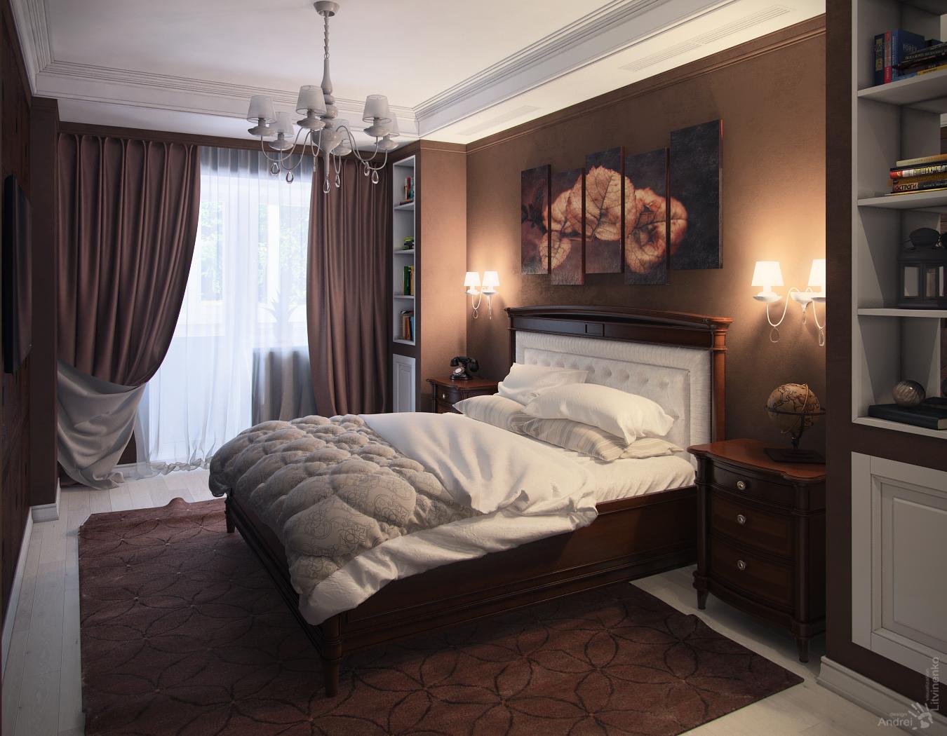 Спальня дизайн шоколадные тона 11
