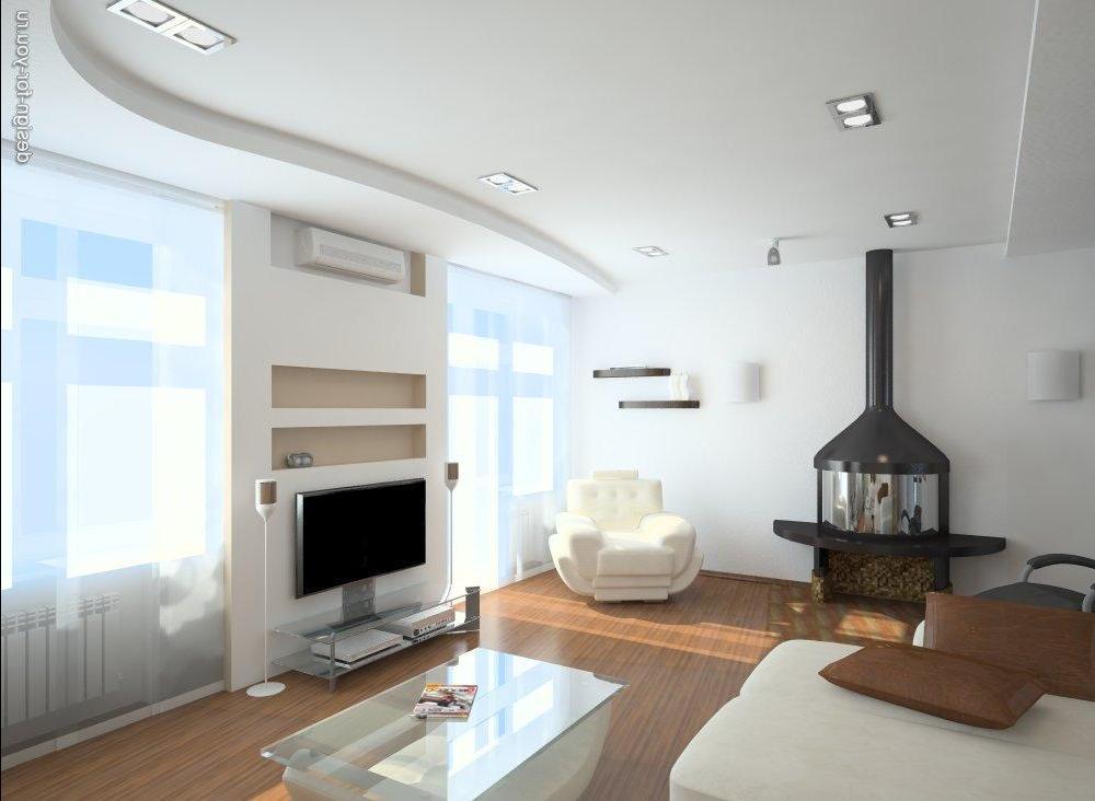 """Интерьер маленького зала с двумя окнами """" современный дизайн."""