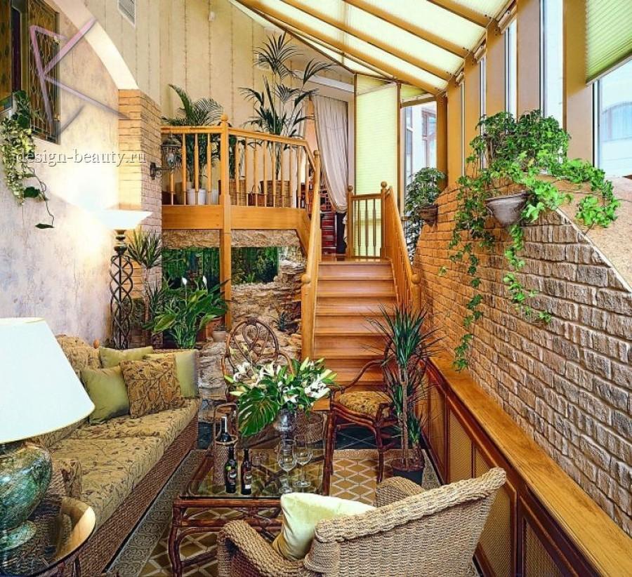 """Дизайн лоджии в частном доме """" современный дизайн."""