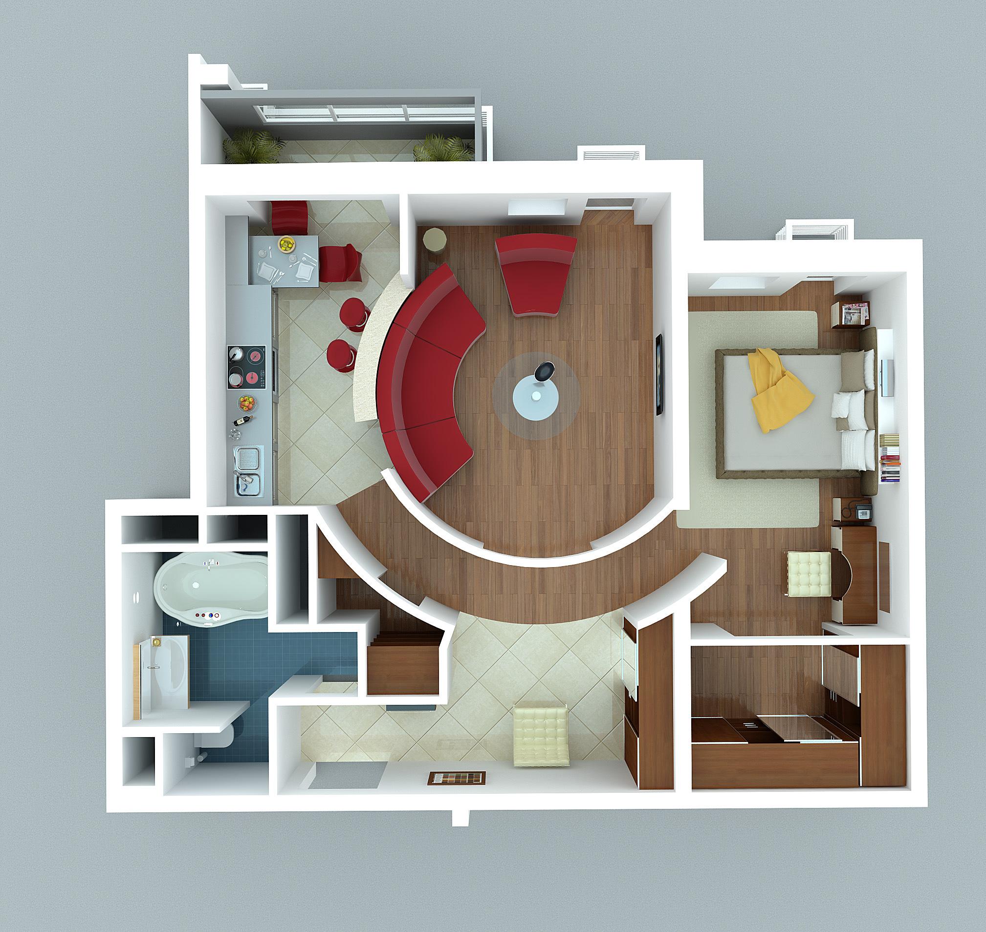 Студия в двухкомнатной квартире дизайн в