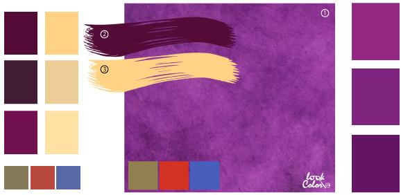 С каким цветом сочетается фиолетовый цвет в интерьере спальни фото