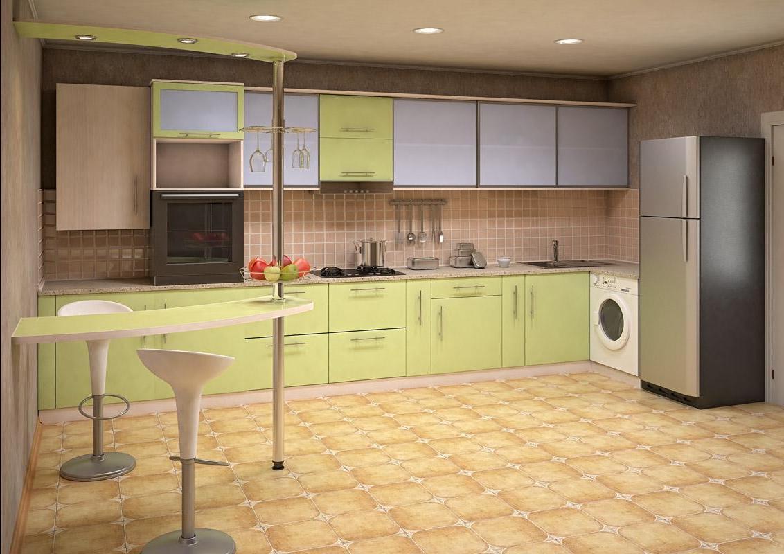 Дизайн прямой кухни в частном доме фото