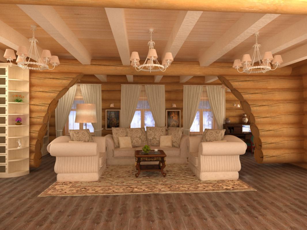 Дизайн внутри загородного дома из бревна