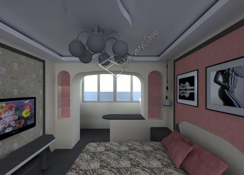 """Дизайн спальни совмещенной с балконом """" современный дизайн."""