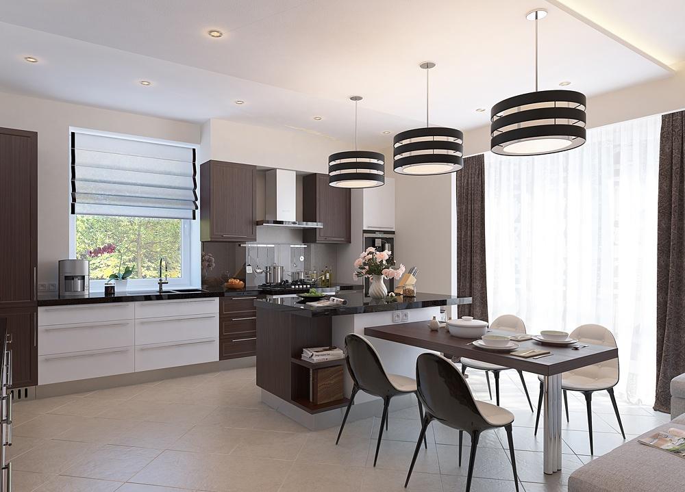 Гостиная столовая и кухня дизайн