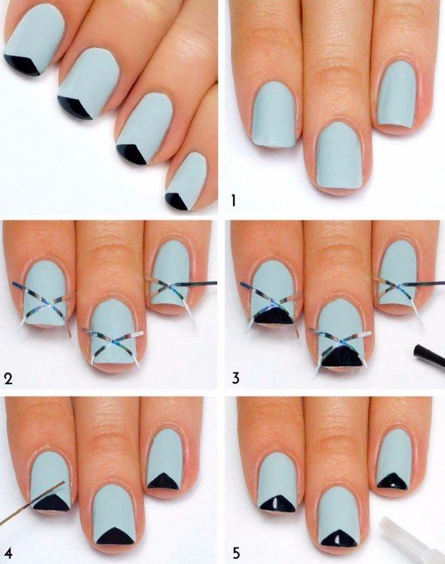 Красивый маникюр в домашних условиях пошаговое фото на коротких ногтях