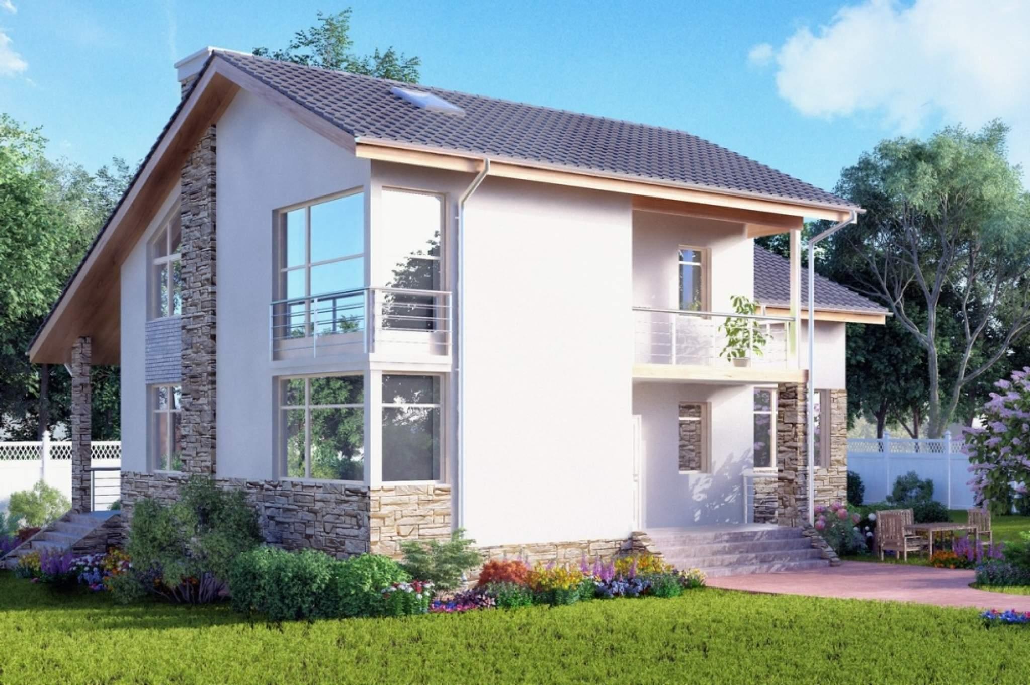 Проект двухэтажного дома из газоблоков гб89 площадью 241 м2 .