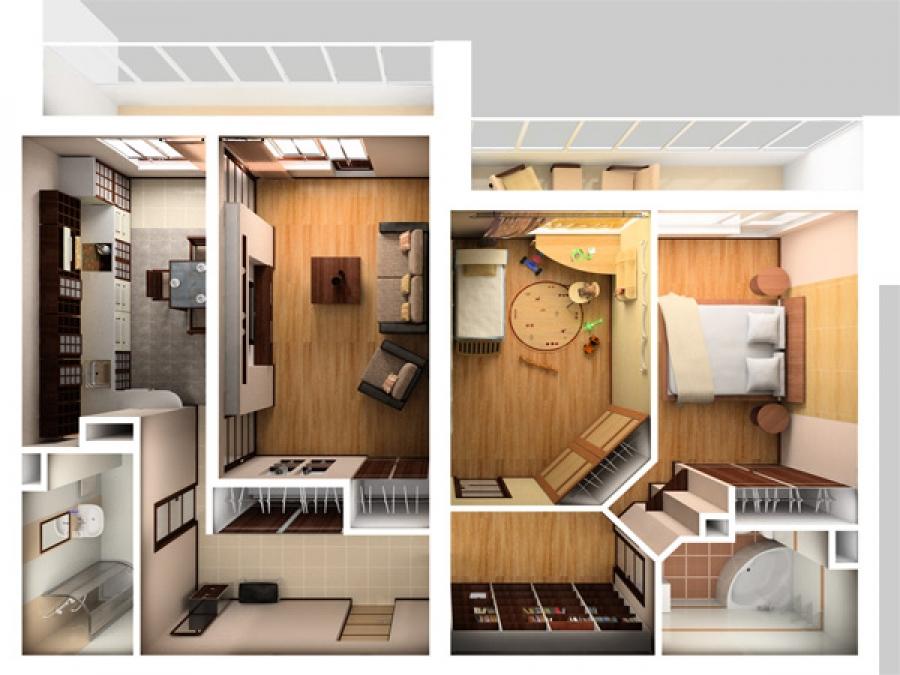 Однокомнатная квартира переделанная в двухкомнатную фото дизайн