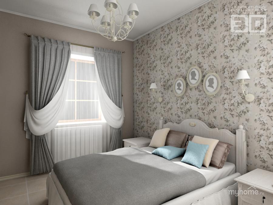Дизайн спальни с серыми обоями 125