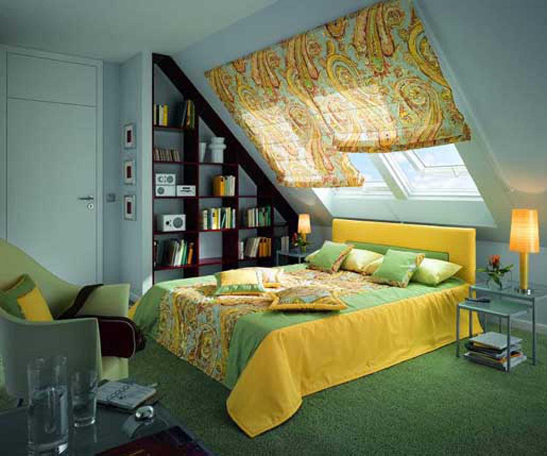 Дизайн комнаты с мансардным окном