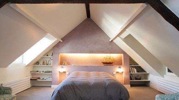Фото дизайна спальни с крышей