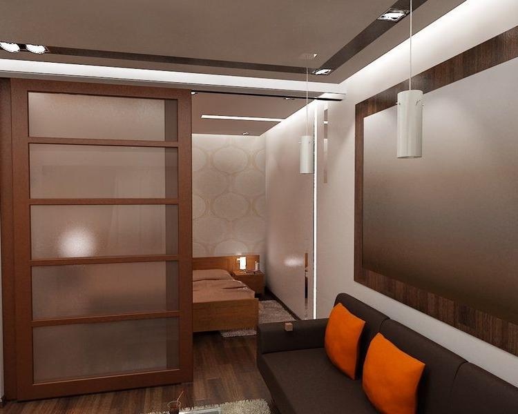 """Дизайн кухни совмещенной со спальней """" современный дизайн."""