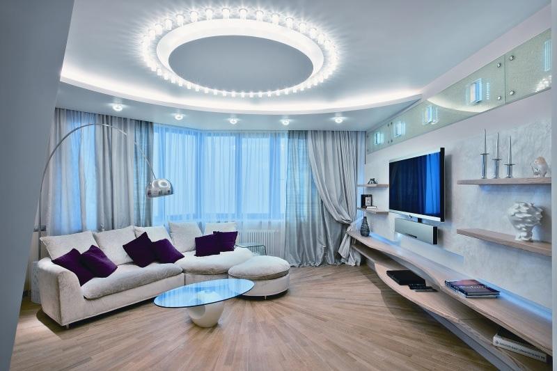Красивый дизайн большой комнаты