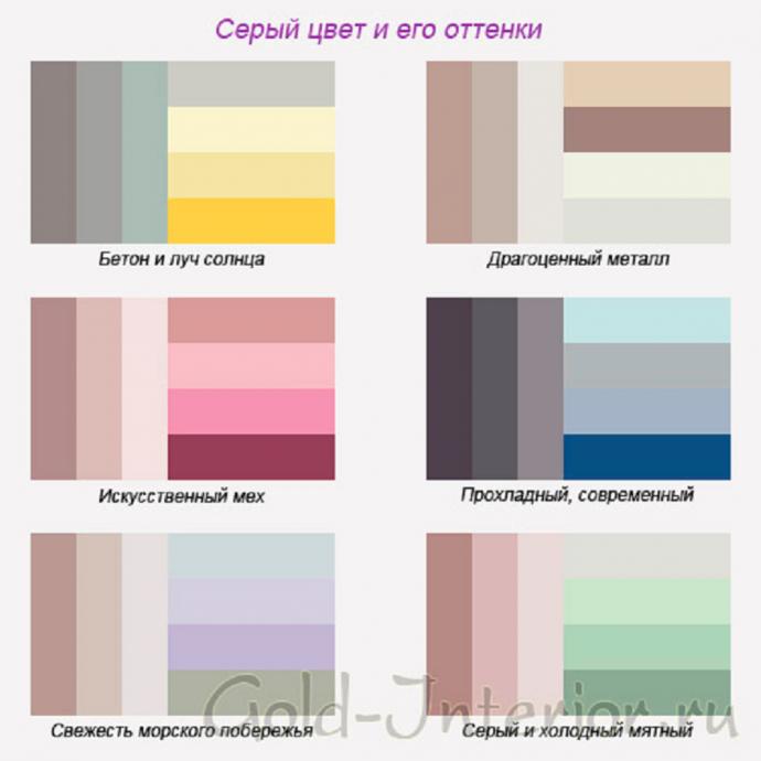С какими цветами сочетается серый