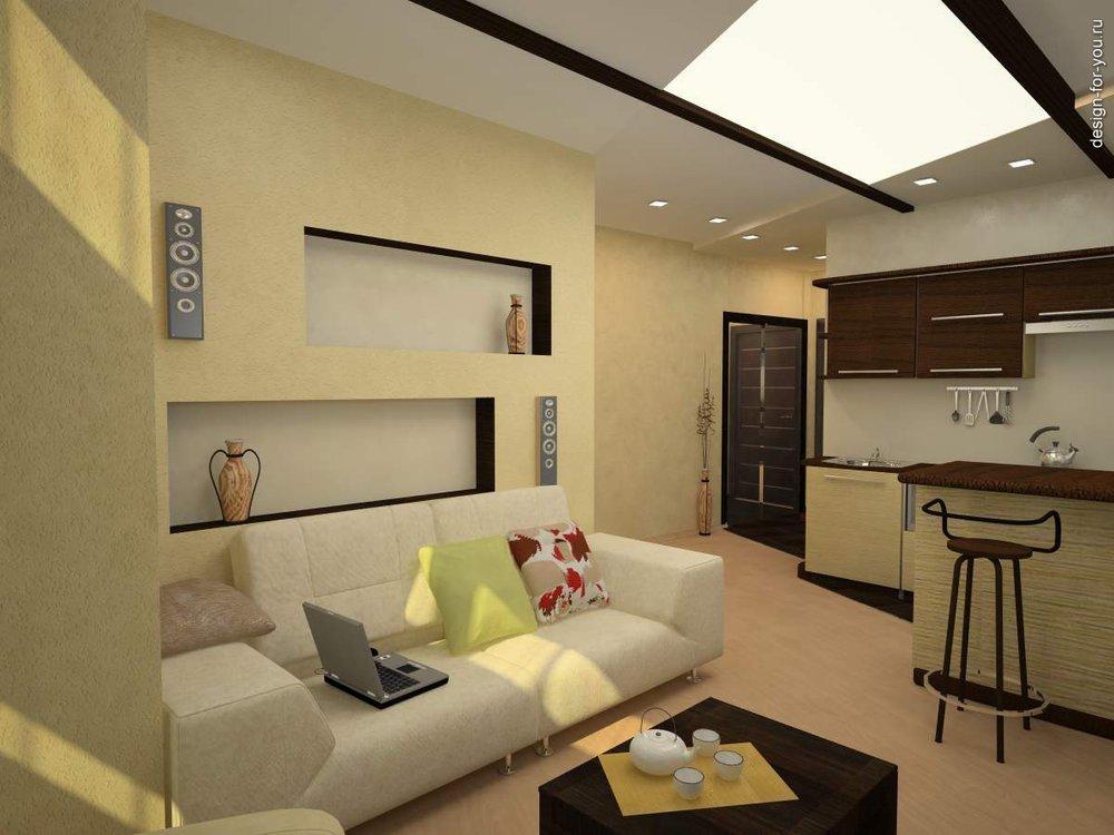 Фото дизайна однокомнатной квартиры студии