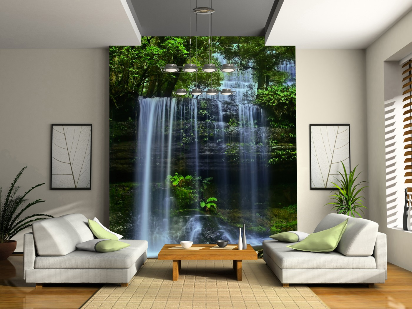 Интерьер дизайнаобоями водопада