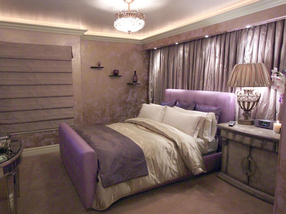 Дизайн сиреневых штор для спальни