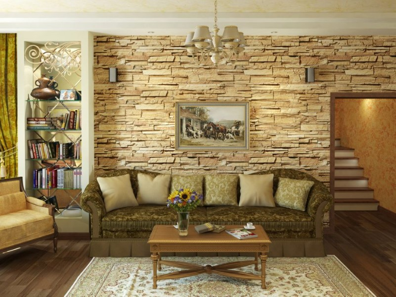Дизайн стен камнем диким
