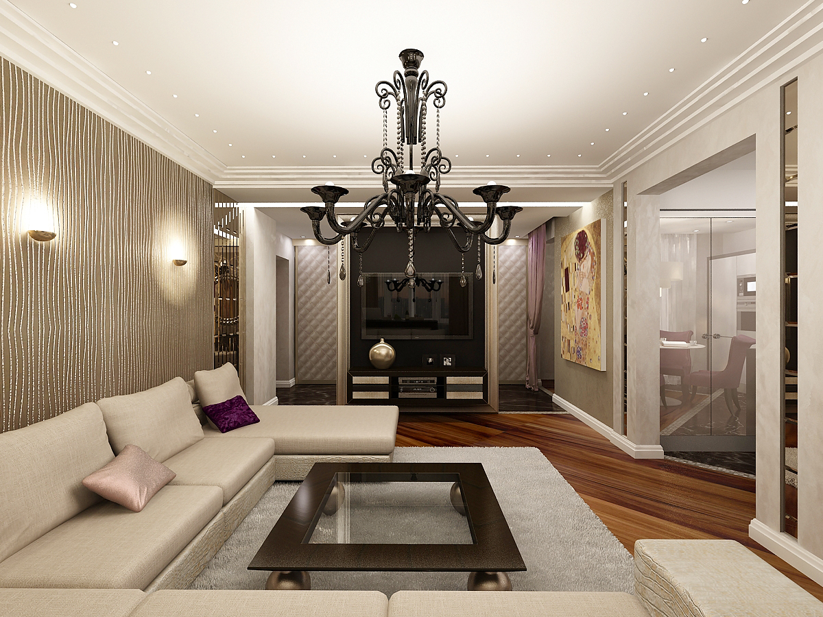 Современный дизайн обоев для зала