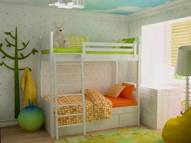 Фото дизайнов детской комнаты с объединенным балконом.