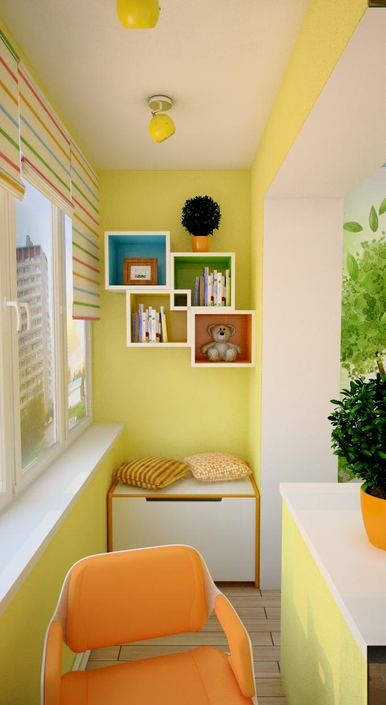 """Дизайн детской комнаты на балконе """" современный дизайн."""