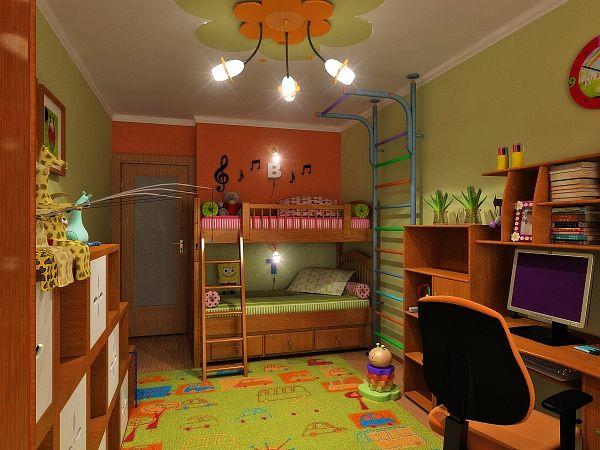 Дизайн детской комнаты для двоих детей с балконом.