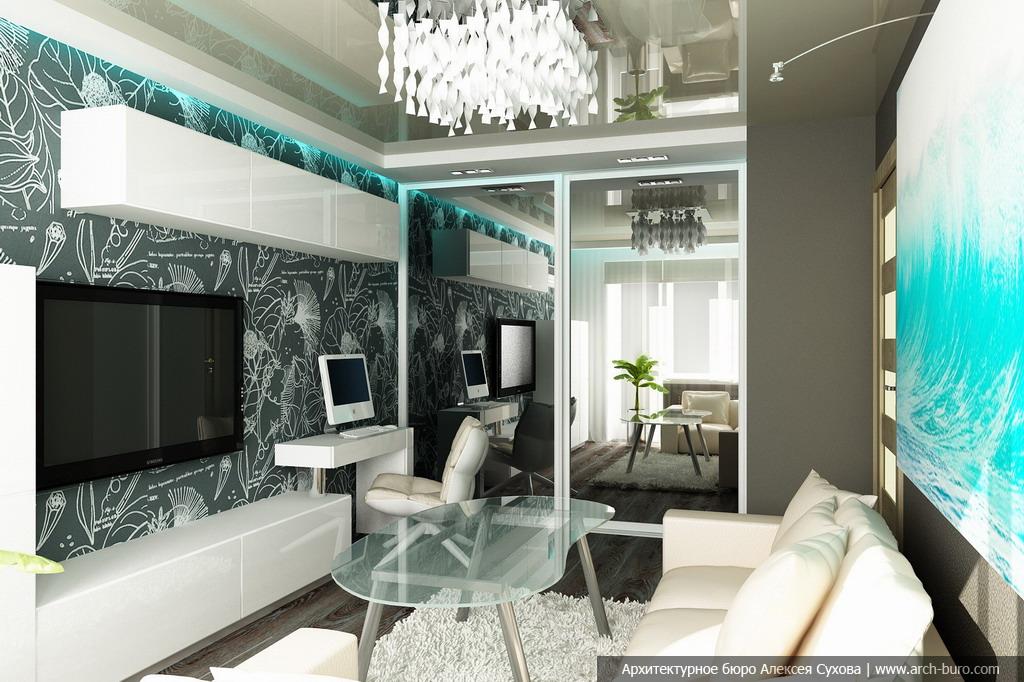 Современный дизайн в гостиной в квартире