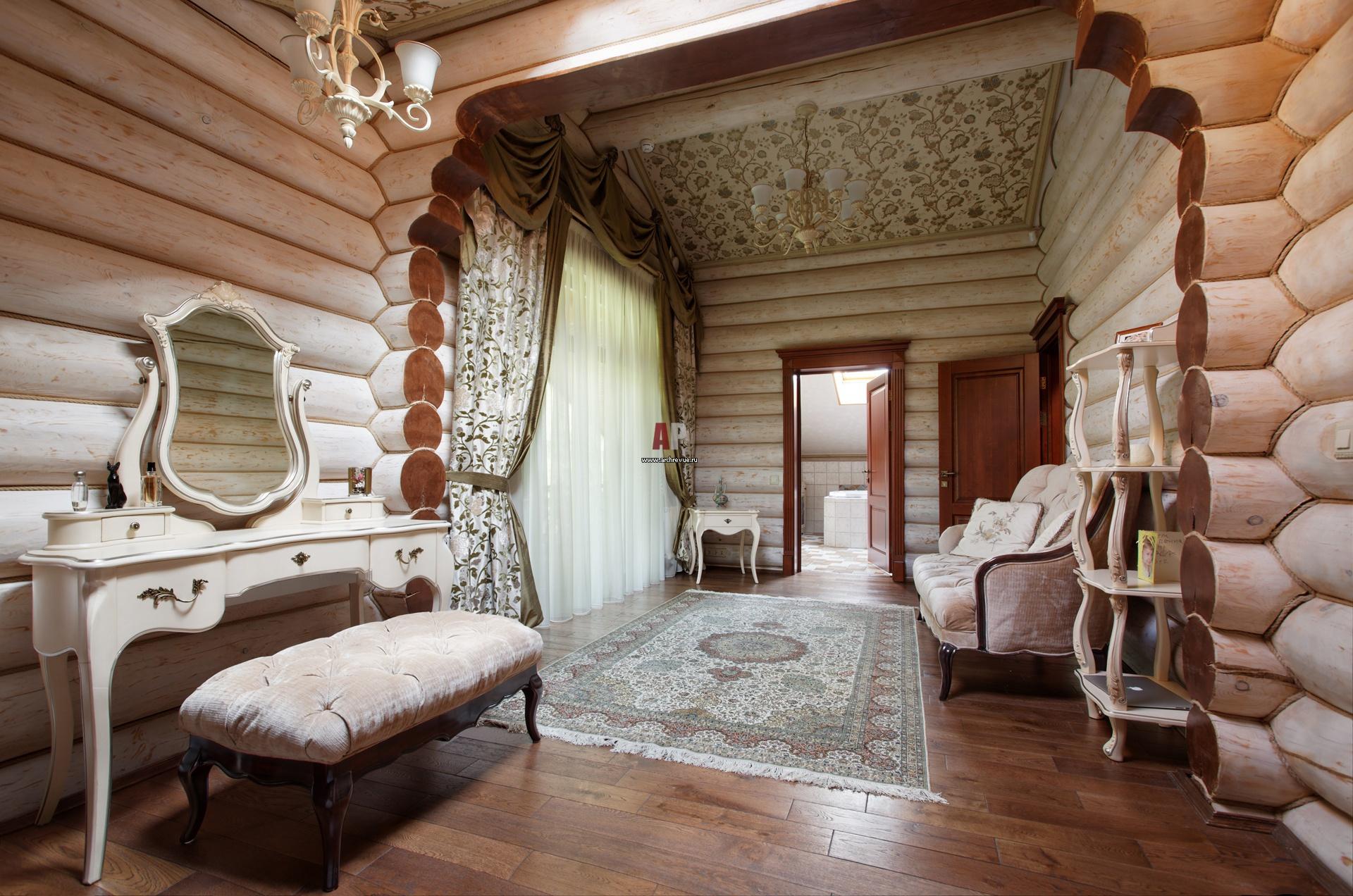 Дизайн интерьера в доме из оцилиндрованного бревна фото