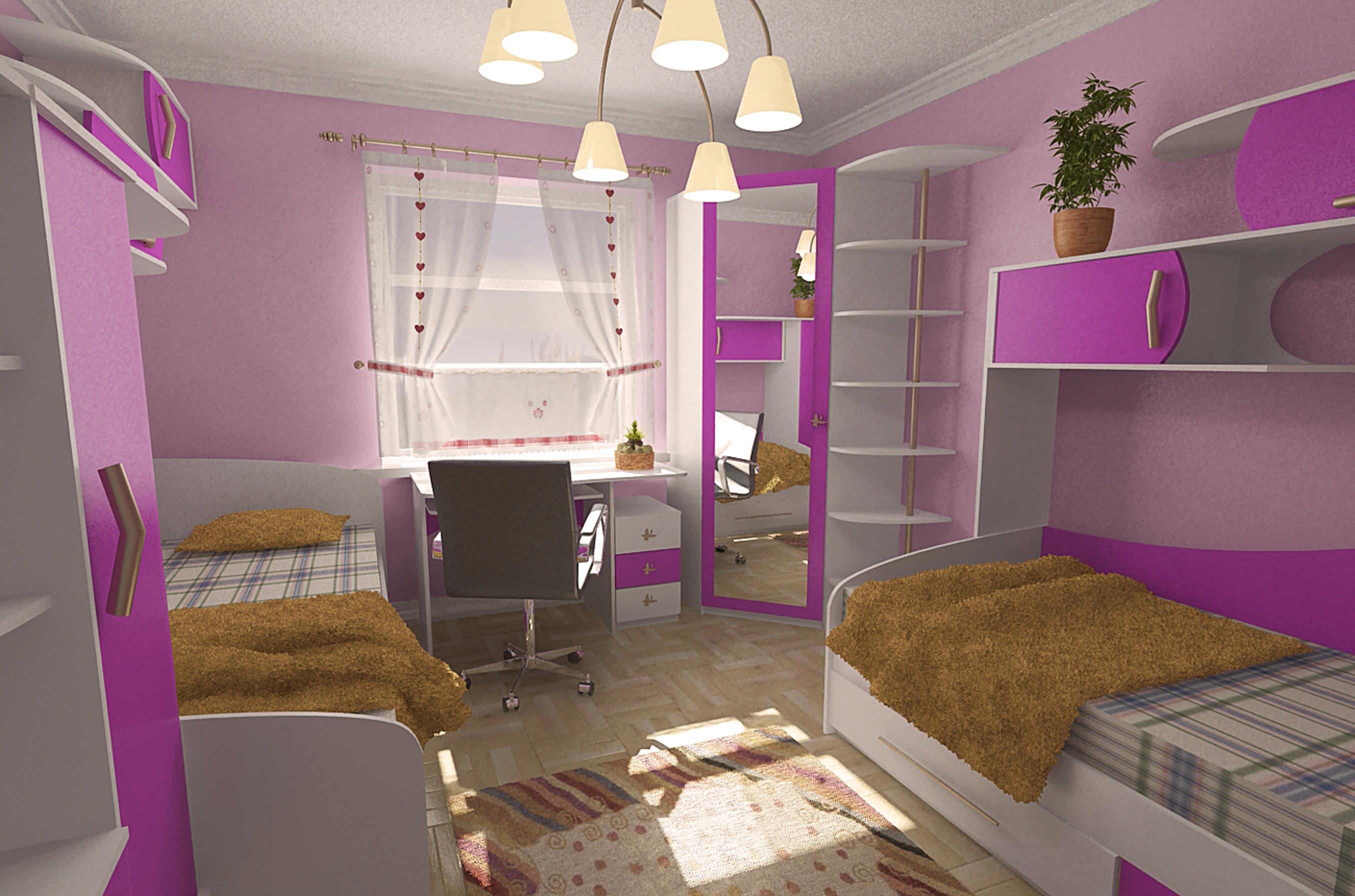 Дизайн детской комнаты для двух девочек 14 кв.м